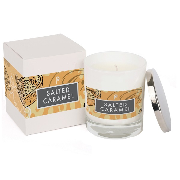 Salted Caramel Elements Glass Candle White with Box