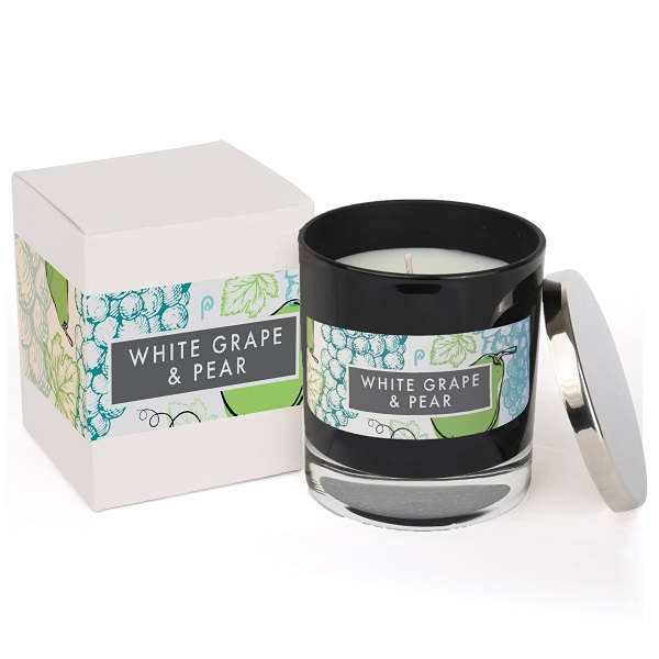 White Grape & Pear Elements Glass Candle in Black Glass with a box