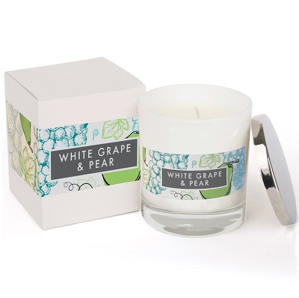 White Grape & Pear Elements Glass White Candle with box