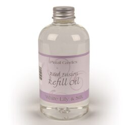 White Lily and Silk-Reed Diffuser Refill Oil Bottle in a pale purple label