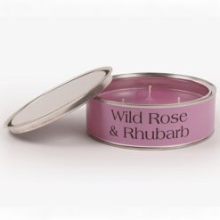 Wild Rose and Rhubarb Triple Wick Candle Dusky Purple Label and Wax Colour